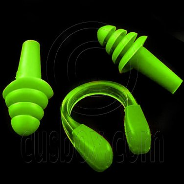 Swimming Nose Clip and Ear Plug Earplug (GREEN) #51903