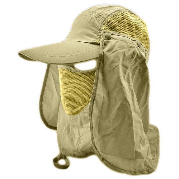 Long Neck Flap /w Face Mask Mesh Cap Hat Fishing Hiking (KHAKI GREEN) #51896