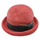Unisex's Woven Straw Dome Shaped Hat w/ Ribbon Headband (REDDISH BROWN) #51899