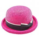 Unisex's Woven Straw Dome Shaped Hat w/ Ribbon Headband (HOT PINK) #51898