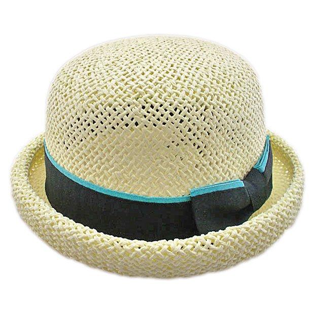 Unisex's Woven Straw Dome Shaped Hat w/ Ribbon Headband (BEIGE) #51897