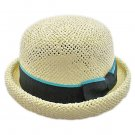 Unisex's Woven Straw Dome Shaped Hat w/ Ribbon Headband (BEIGE) #51897