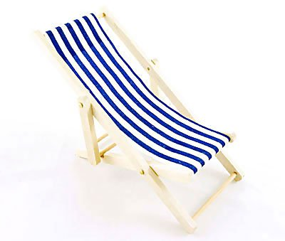 Beach Garden Wood Blue Chair 1:12 Dollhouse Miniature #10245