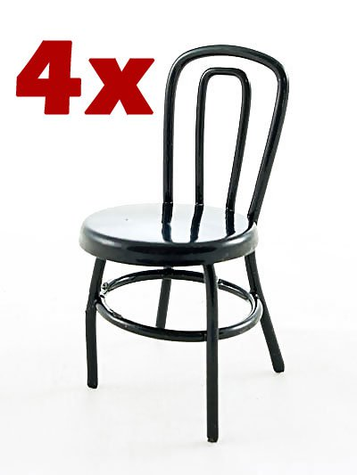 Set/Lot of 4 Black Metal Cafe Chair Dollhouse Miniature #10247