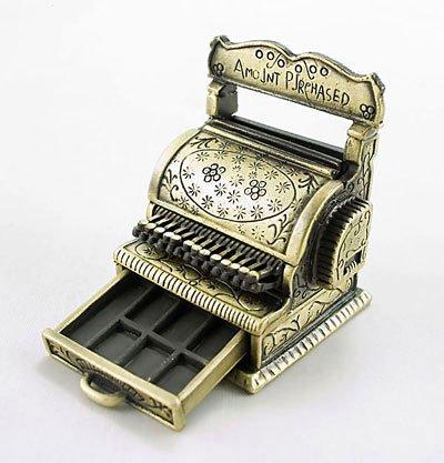 Vintage Bronze Gold Cash Register Dollhouse Miniature #10277