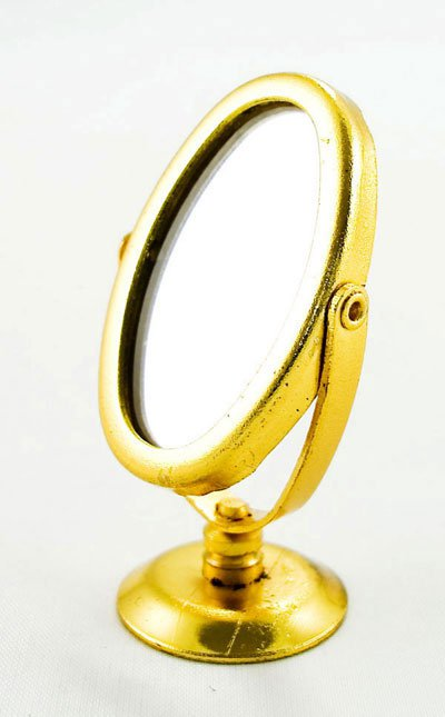 Golden Makeup Cosmetic Oval Mirror Dollhouse Miniature #10293
