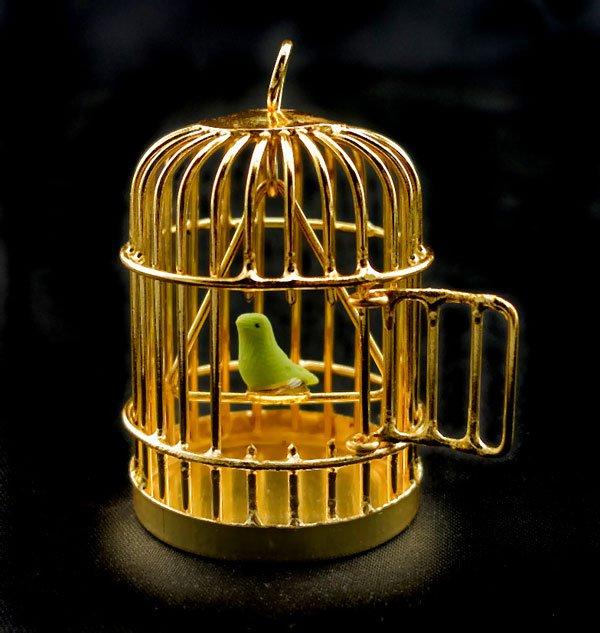 Gold Wire Birdcage Bird Cage w Bird Dollhouse Miniature #10435