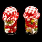 Set 2 Red Sweet Candy Glass Bottle Dollhouse Miniature #10638