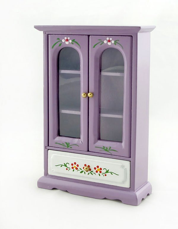 Purple Nursery Armoire Door Cabinet Dollhouse Furniture #10771