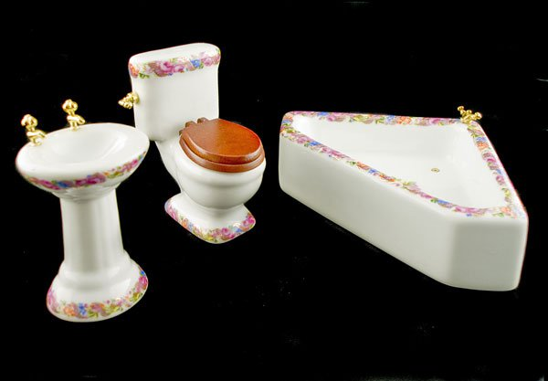 Porcelain Bathroom Sink Tank Tub Dollhouse Furniture #10807