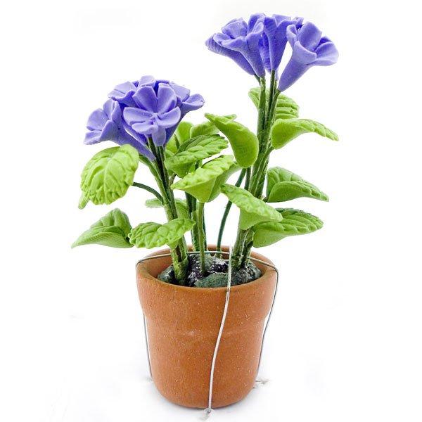 Porcelain Purple Rose Flower Pot Dollhouse Miniature #10819