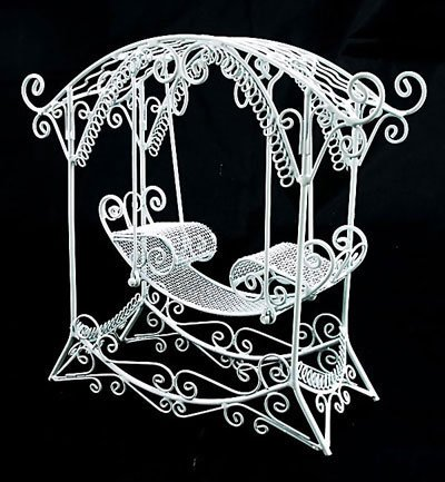 White Wire Rocking Bench Hang Chair Dollhouse Furniture #10855