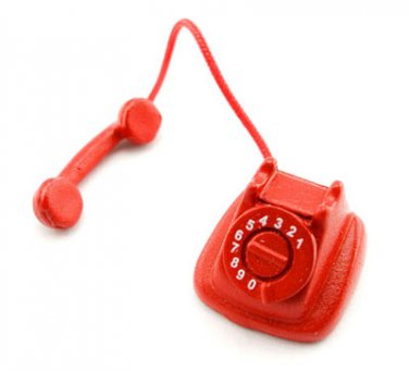 Vintage Red Old Telephone Phone Dollhouse Miniature #10857