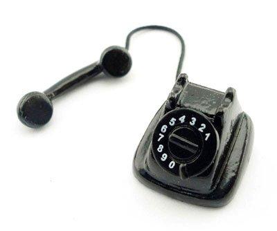 Vintage Black Old Telephone Phone Dollhouse Miniature #10858