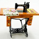 Vintage Black Sewing Machine Table Dollhouse Miniature #10868
