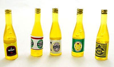Lot/Set 5 Wine Beer Drinks Bottle Dollhouse Miniature #10869