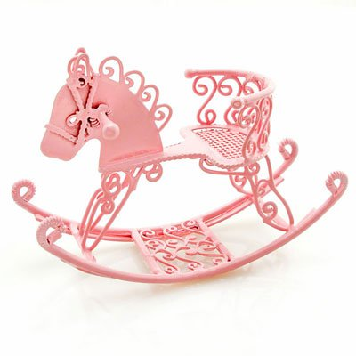 Pink Wire Nursery Rocking Horse Dollhouse Miniature #10896