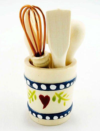 Kitchen Cooking Utencils Bucket Dollhouse Miniature Set #10924