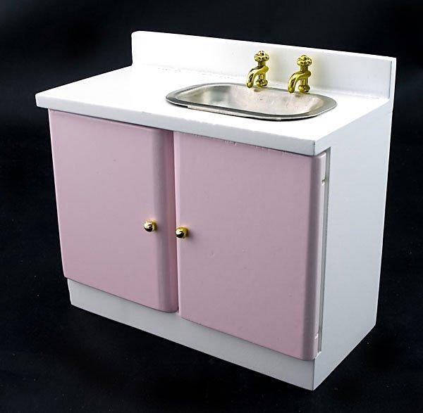 Pink New Kitchen Sink Bowl w Faucet Dollhouse Furniture #10954
