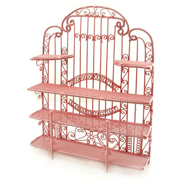 Pink Wire Jewelry Earring Display Holder Doll Dollhouse #10998
