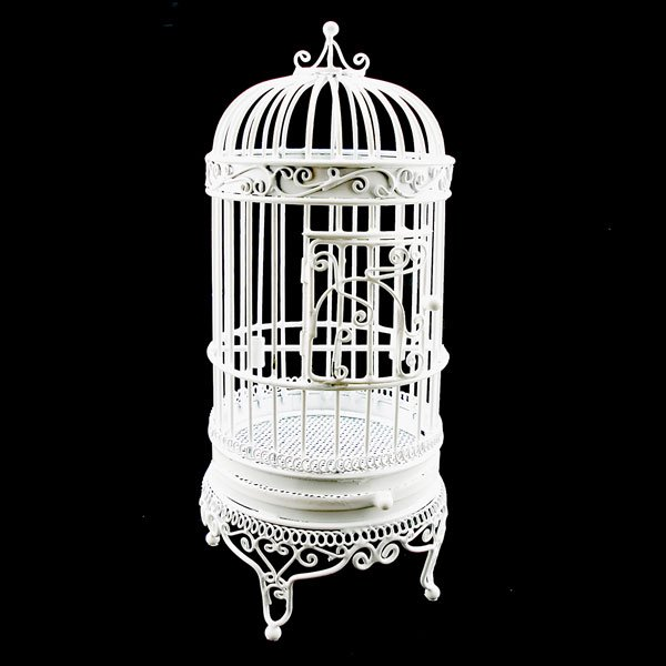 White Wire Birdcage Jewelry Display Dollhouse Furniture #11012