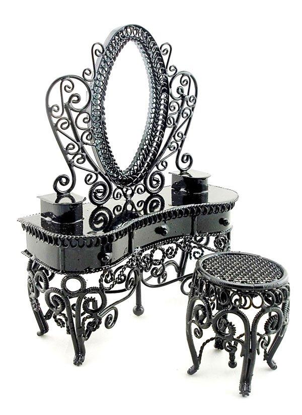 Black Wire Mirror Vanity Chair Set Dollhouse Furniture #11112