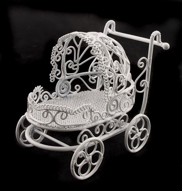 White Wire Nursery Baby Strollers Dollhouse Miniature #11170