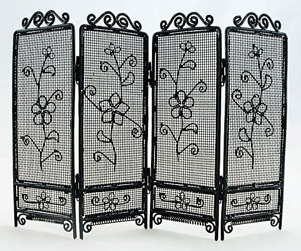 Black Wire Folding Screen Divider Dollhouse Furniture #11174