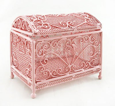 Pink Filigree Deluxe Jewellery Box Dollhouse Miniature #11175
