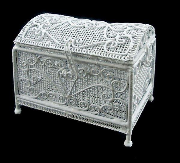 White Wire Jewellery Chest Box 1:12 Dollhouse Miniature #11176