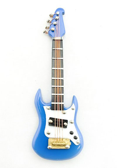 Electric Plug Blue Guitar Musical Dollhouse Miniature #11183