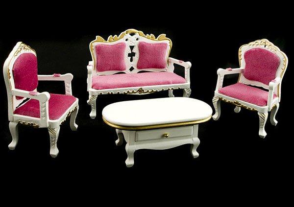Set Victorian White Wood Sofa Table Dollhouse Furniture #11202