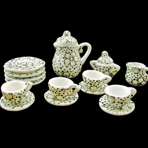 Porcelain Tea Pot Kettle Set Dollhouse Miniature 11pcs #11215