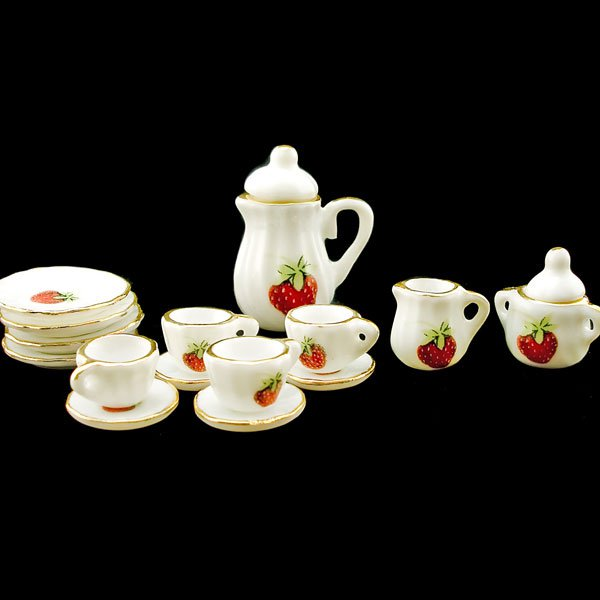 Porcelain Tea Pot Kettle Set Dollhouse Miniature 11pcs #11216