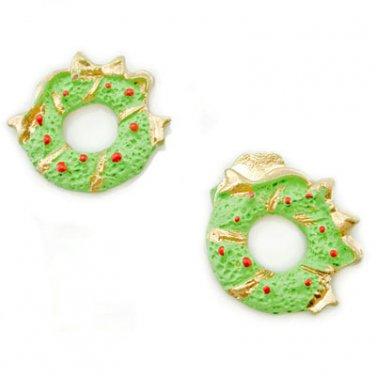 Pair 2 x Green Christmas Wreath New Dollhouse Miniature #11260