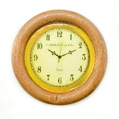 Vintage Round Wooden Wall Clock New Dollhouse Miniature #11263