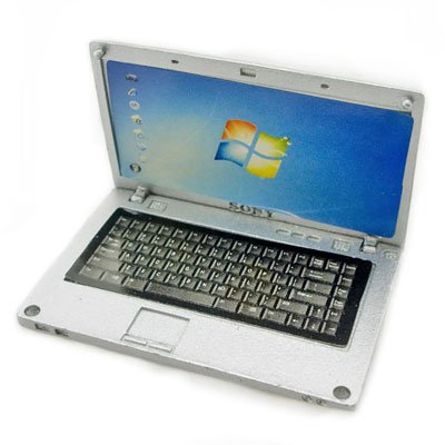 Silver Metal 16:9 Notebook Netbook Dollhouse Miniature #11316