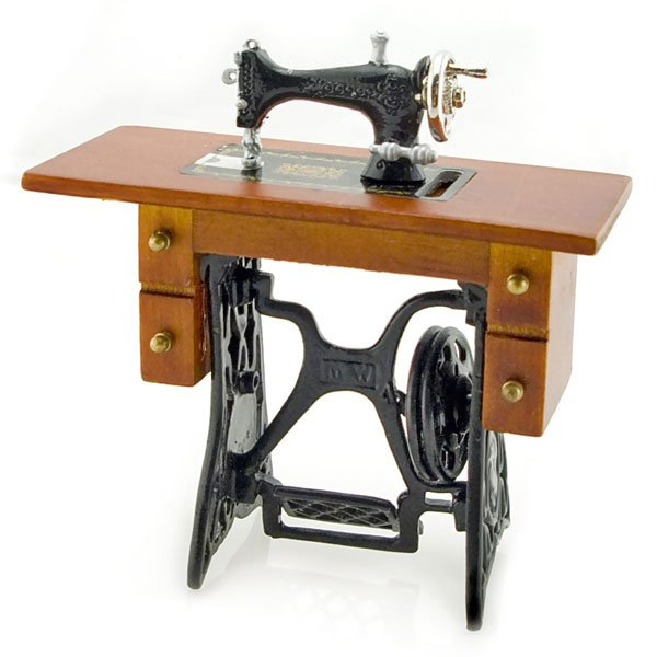 Antique Black Sewing Machine Table Dollhouse Miniature #11318