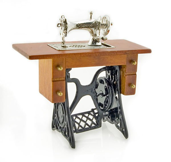Antique Silver Sewing Machine Table Dollhouse Miniature #11319
