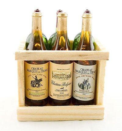 Box Set 6 Champagne Bottle Wine New Dollhouse Miniature #11399