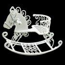 White Wire Nursery Rocking Horse Dollhouse Miniature #11433