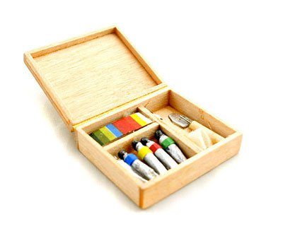 Wood Paint Craft Tool Kit Art Box Dollhouse Miniature #11555
