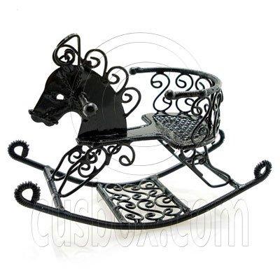 Black Wire Nursery Rocking Horse Dollhouse Miniature #11599