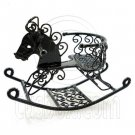 Black Wire Nursery Rocking Horse Dollhouse Miniature #11599