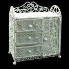 White Wire Dresser Chest with Drawer Dollhouse Furniture #11602