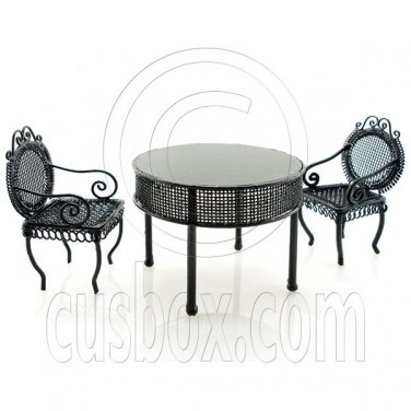 Black Wire Cafe Table Chairs Set Dollhouse Miniature #11606