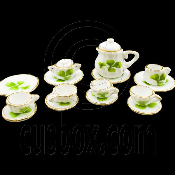 Porcelain Clover Tea Pot Kettle Set Dollhouse Miniature #11623
