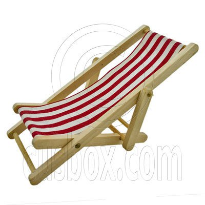 Red Folding Beach Chair Bench 1:12 Dollhouse Miniature #11784