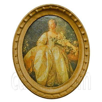 Oval Wall Oil Painting Canvas 1:12 Dollhouse Miniature #11796