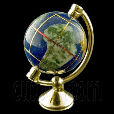 Blue Gold Metal Rolling Globe 1:12 Dollhouse Miniature #11797